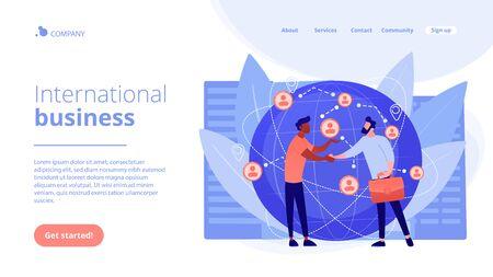 International business concept landing page.