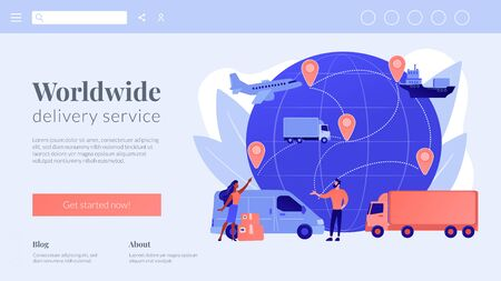 Global transportation system concept landing page.