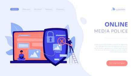 Media content control concept landing page 向量圖像