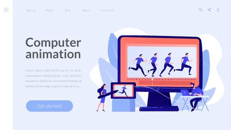 Computer animation concept landing page
