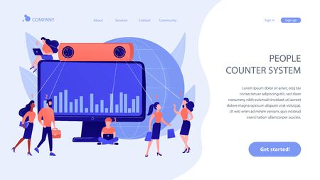 People counter system concept landing page