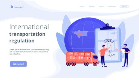 Road transport documents concept landing page