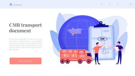 Road transport documents concept landing page Illustration