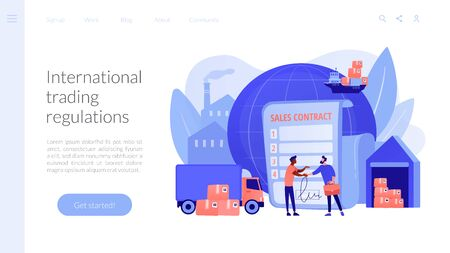 Sales contract terms concept landing page Vettoriali