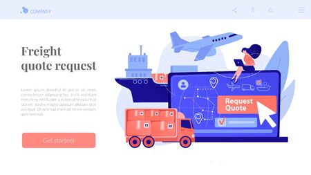 Freight quote request concept landing page