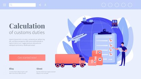 Customs clearance concept landing page