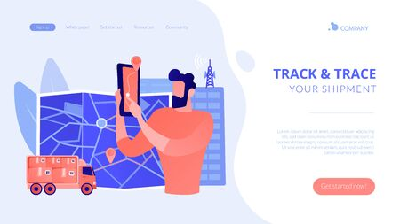 Post service tracking concept landing page