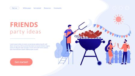 Backyard party concept landing page.