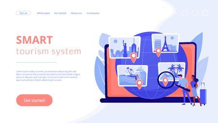 Smart tourism system concept landing page