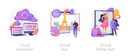 Online data transfer and virtual experience abstract concept vector illustrations. Vetores