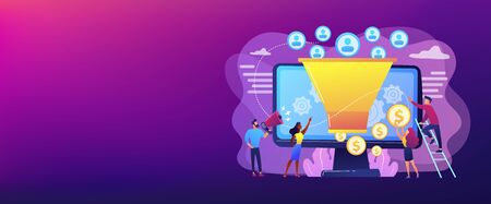 Monetization tips. Increasing conversion rates strategy. Attracting followers. Generating new leads, identify your customers, SMM strategies concept. Header or footer banner template with copy space.