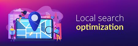 Digital GPS application for smartphones. Geotag sign on city map. Local search optimization, search engine targeting, local SEO strategy concept. Header or footer banner template with copy space. Illustration