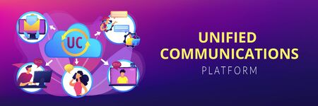 Communication integration. Collaboration service. Unified communication, unified communications platform, consistent unified user interface concept. Header or footer banner template with copy space..