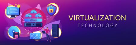 Virtual machines. Operating system and data storage. Virtualization technology, process virtual representation, reduce IT expenses concept. Header or footer banner template with copy space..