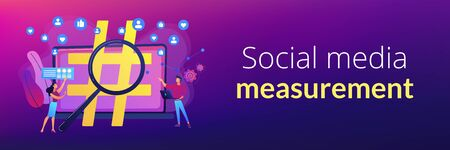Viral marketing, trends analysis, modern advertising business. Social network monitoring, social media measurement, social listening concept. Header or footer banner template with copy space. Illustration
