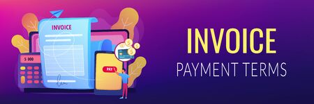 Money loan contract, e payment application, finances management. Payment terms, convenient contract payments, invoice payment terms concept. Header or footer banner template with copy space.