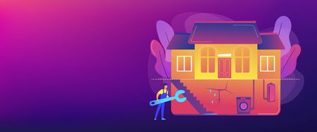 Basement services concept banner header Illustration