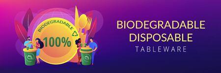 Biodegradable disposable tableware concept banner header