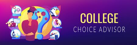 College choice concept banner header Illustration