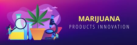 Marihuana products innovation concept banner header.