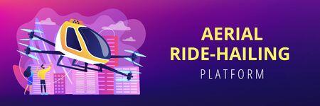 Aerial taxi service concept banner header.