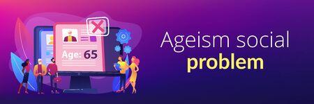 Ageism social problem concept banner header.