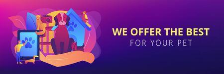 Pet services concept banner header Иллюстрация