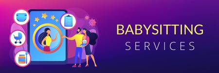 Babysitting services concept banner header