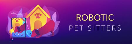 Robotic pet sitters concept banner header