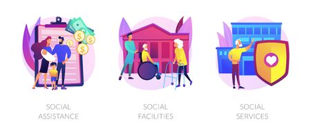 Caregiving and welfare services abstract concept vector illustrations.