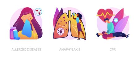 Allergic reactions first aid abstract concept vector illustratio