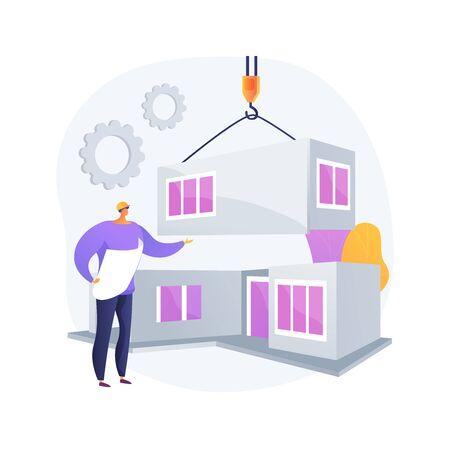 Modular home abstract concept vector illustration. Illustration