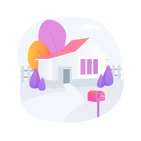 Detached house abstract concept vector illustration.