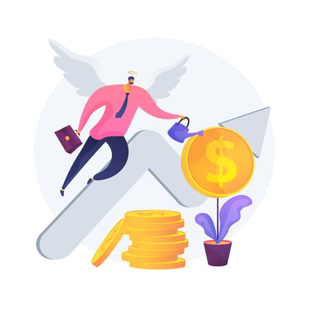 Angel investor abstract concept vector illustration.