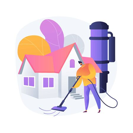 Central vacuum system abstract concept vector illustration. Illustration