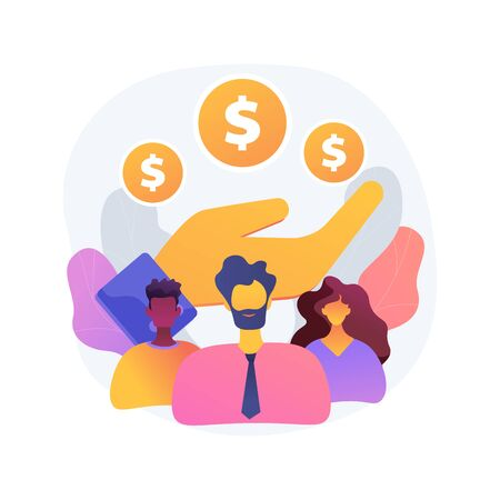 Wage subsidy for business employees abstract concept vector illustration.