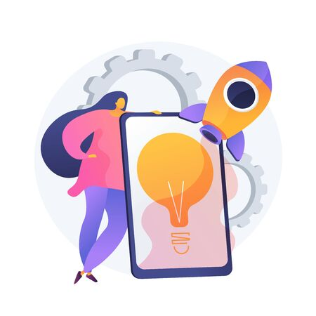 Idea implementation. Launching startup, creative thinking, innovative solutions. Businesswoman, investor, manager starting business project. Vector isolated concept metaphor illustration