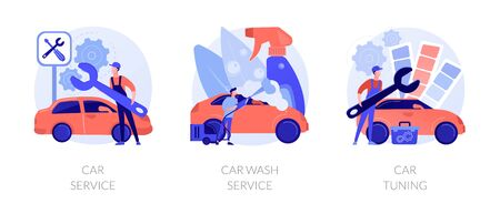 Vehicle care services vector concept metaphors Illustration