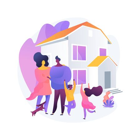 Family house abstract concept vector illustration.