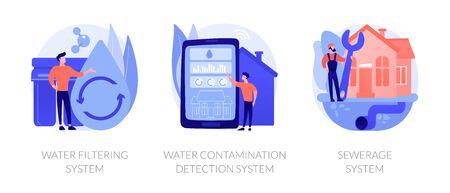 Home water treatment vector concept metaphors.