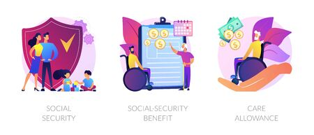 State social security system vector concept metaphors Çizim