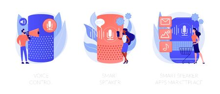 Voice command device application, virtual assistant technology. Voice control, smart speaker, smart speaker apps marketplace metaphors. Vector isolated concept metaphor illustrations. 일러스트