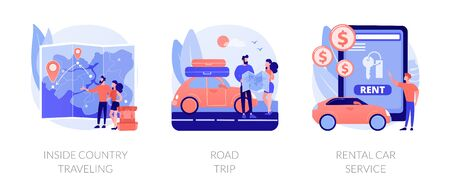 Active holiday metaphors. Inside country travel, road trip, rental car service. Low cost journey. Weekend adventure. Renting transport. Vector isolated concept metaphor illustrations. Illustration