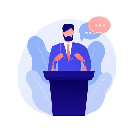 Business conference, corporate presentation. Female speaker flat character with empty speech bubbles. Political debates, professor, seminar. Vector isolated concept metaphor illustration