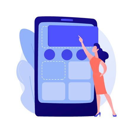 Content management. Woman posting advertisement in social media networks flat female character. CMS, digital marketing, Internet blogging. Vector isolated concept metaphor illustration Ilustração