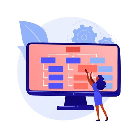 Web design and content creating. Landing page, website, homepage creating design element. Female graphics designer, developer flat character. Vector isolated concept metaphor illustration