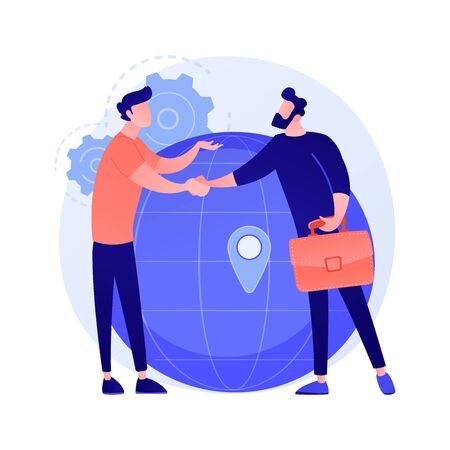 International business cooperation. Businesswoman and businessman shaking hands. Global collaboration, agreement, international partnership. Vector isolated concept metaphor illustration