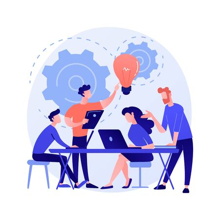 Corporate meeting. Employees cartoon characters discussing business strategy and planning further actions. Brainstorming, formal communication, seminar. Vector isolated concept metaphor illustration