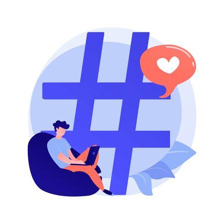Internet blogging, vlogging. Influencer, viral content, marketing. Social media hastag isolated design element. Copywriting, keyword researching. Vector isolated concept metaphor illustration