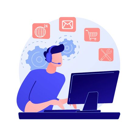 Noctidial technical support. Online assistant, user help, frequently asked questions. Call center worker cartoon character. Woman working at hotline. Vector isolated concept metaphor illustration